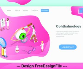 Ophthalmology plane isometric vector 3d concept illustration