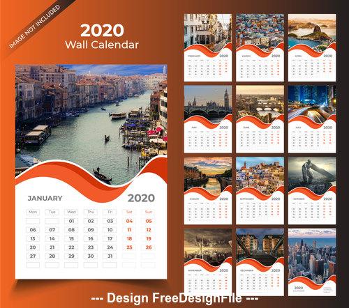 Orange wall calendar 2020 template vector