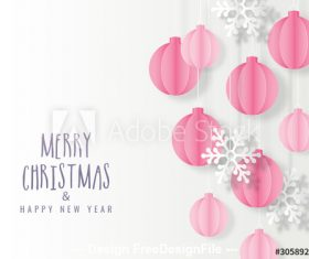 Origami Christmas greeting card vector