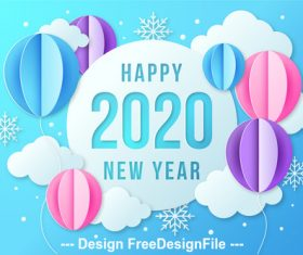 Origami happy 2020 new year vector