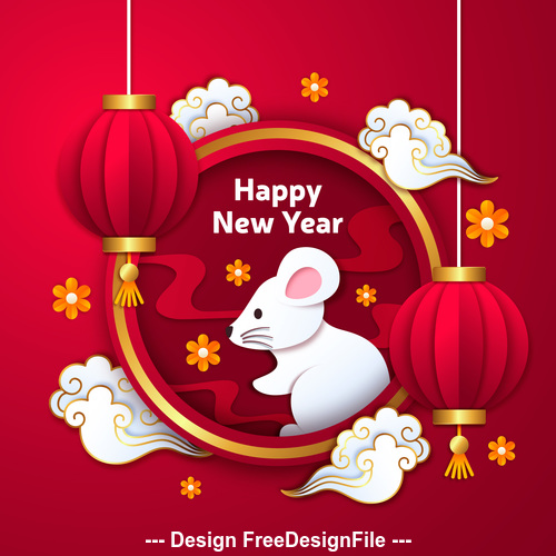 Origami red lantern and silhouette new year 2020 greeting card vector