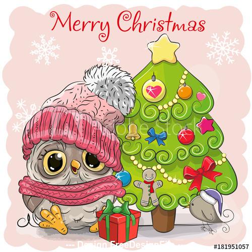 Owl and christmas tree cartoon vector
