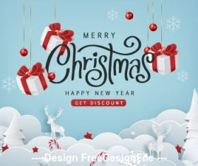 Paper christmas gift vector