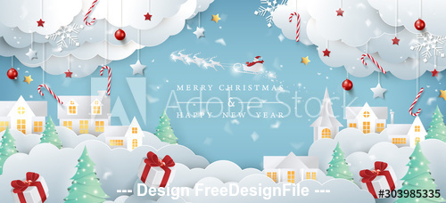 Paper creative christmas background card vector