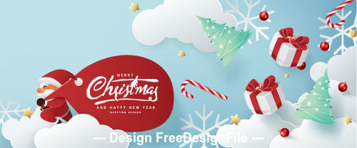 Paper creative christmas card vector