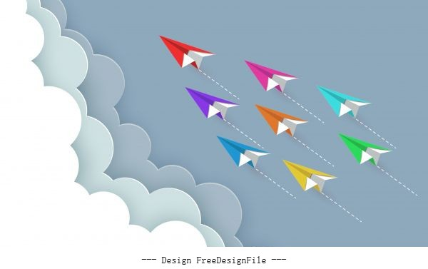 Paper airplane colorful fly up to sky cartoon vector