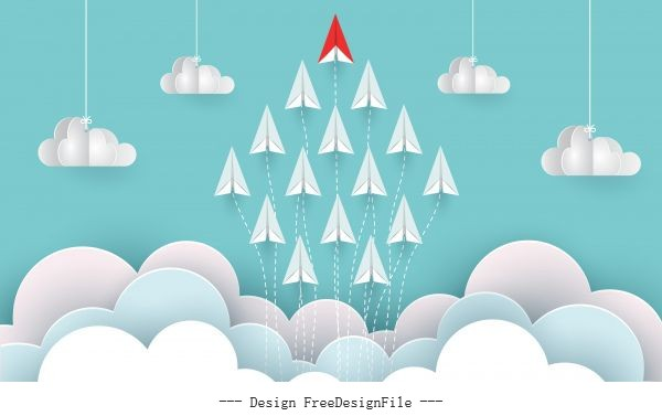 Paper airplane red and white are fly up to sky between cloud natural landscape go to target startup leadership concept business success creative idea illustration cartoon vector