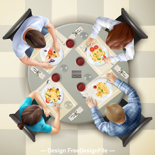 Party dinner top view vector