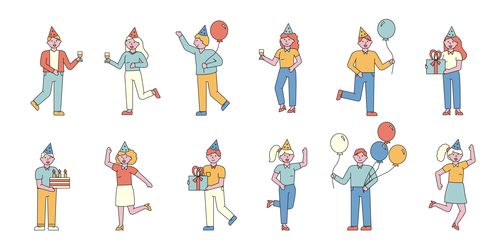 Party lineart people character vector