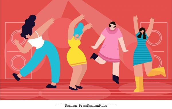 Party dance background motion colorful cartoon vector set