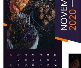 Pasta snack cover 2020 calendar vector