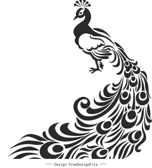 Peacock stencil free cdrs art design vector