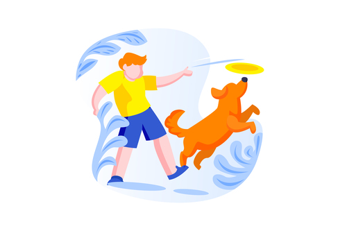 People and dog playing cartoon vector