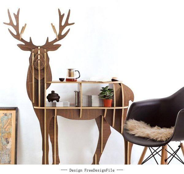 Perfect deer wood 08cm set vector