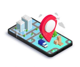 Phone tracking isometric concept vector