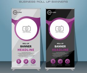 Photography roll up banners template vector