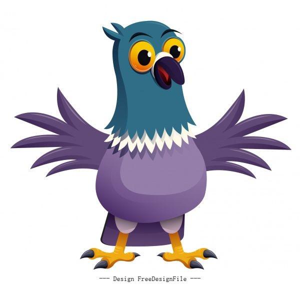 Pigeon bird icon cute cartoon character sketch vectors