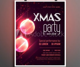Pink christmas ball christmas party flyer vector