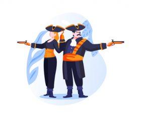 Pirate couple cartoon vector