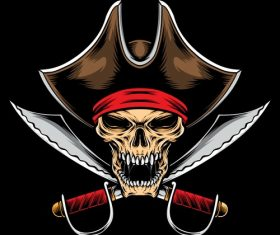 Pirate skull tattoo logo design vector