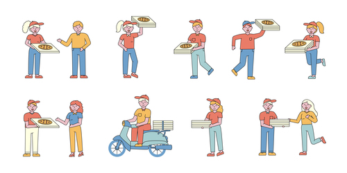 Pizza delivery lineart people character vector