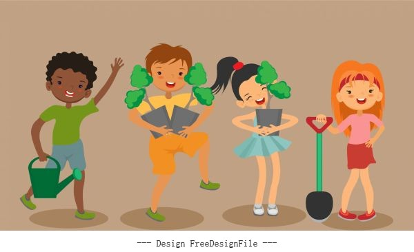 Plantation background joyful children sketch cartoon characters vector graphics