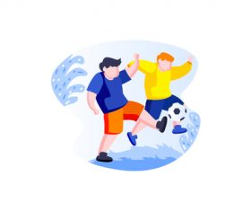 Play football kids cartoon vector