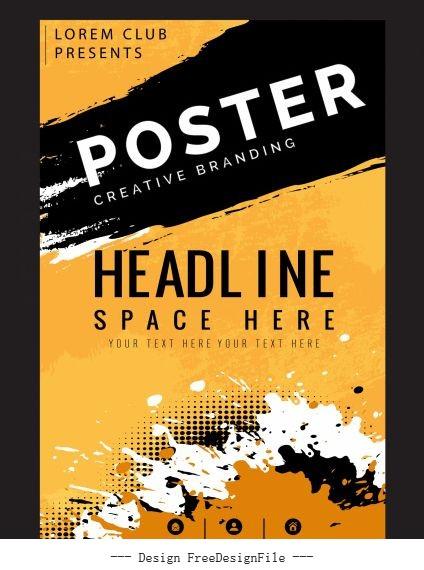 Poster templates grunge splashing decor vector