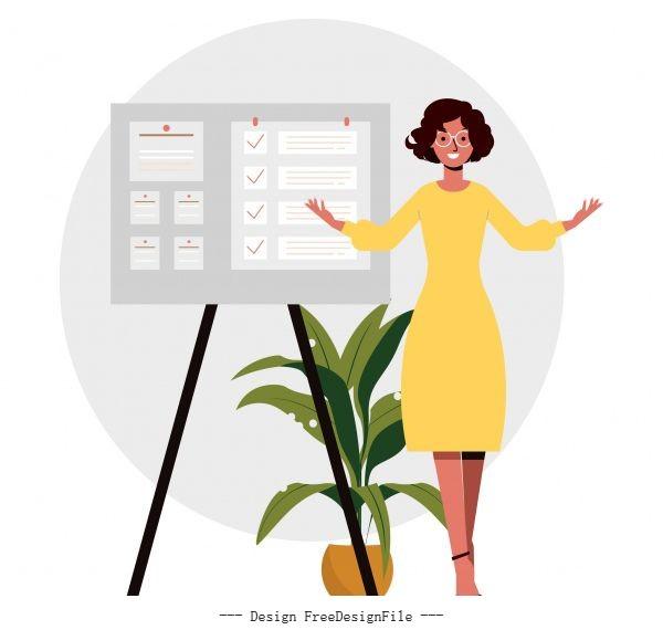Presentation work background office lady sticker board vector