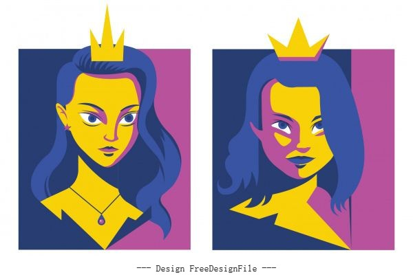Princess avatar young girl colored vector material