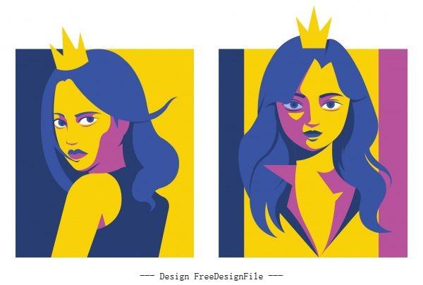 Princess portrait avatar colored cartoon character vector
