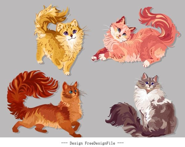 Pussy cat icons colored cute handdrawn design vectors