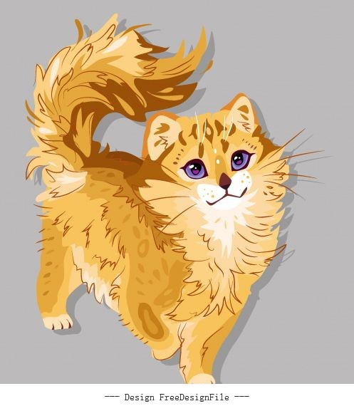 Pussy painting cute colored handdrawn vector