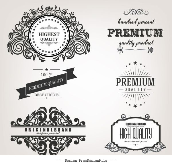Quality identity label templates retro calligraphic vector design