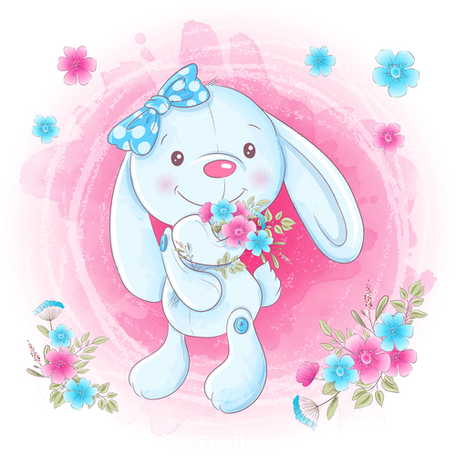 Rabbit holding flowers illustration vector