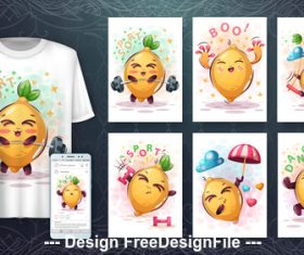 Radish 3d t-shirts with mult funny characters vector