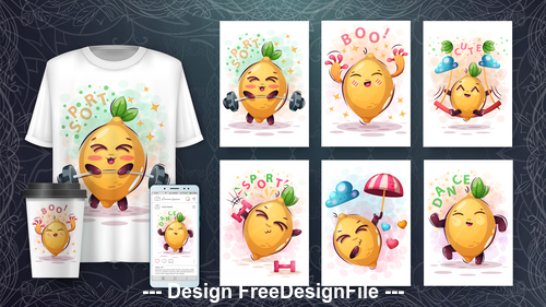 Radish 3d t shirts with mult funny characters vector