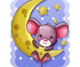 Rat and cheese moon vector