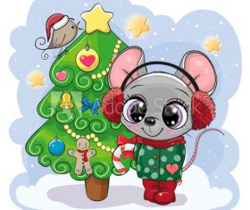 Rat and christmas tree cartoon vector