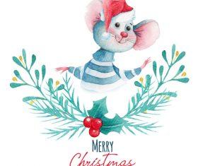 Rat new year card watercolor illustrations vector