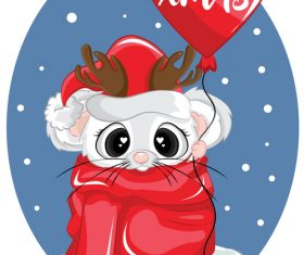 Rat new year christmas greeting card vector