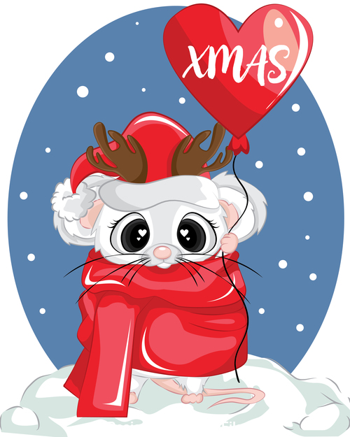Rat new year christmas greeting card vector