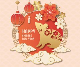 Rat silhouette greeting card happy new year vector