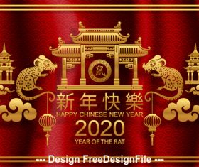 Rat symbol of Chinese New Year 2020 illustration vector