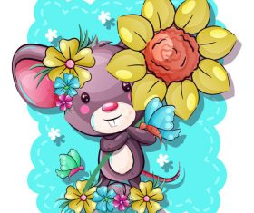 Rat vector holding flowers