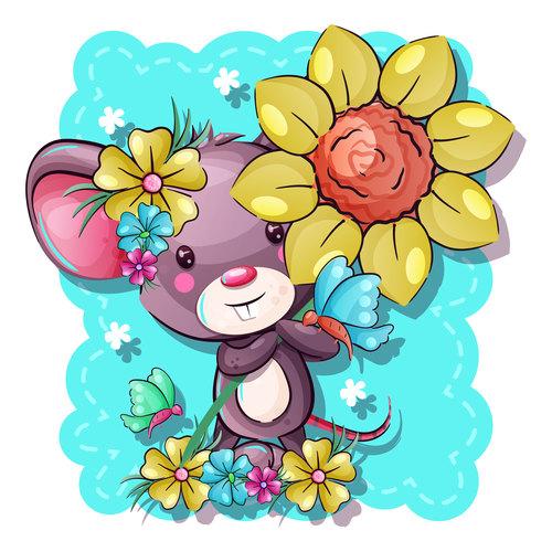 Rat vector holding flowers
