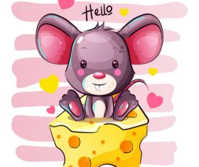 Rat vector sitting on cheese