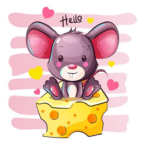 Rat vector sitting on cheese