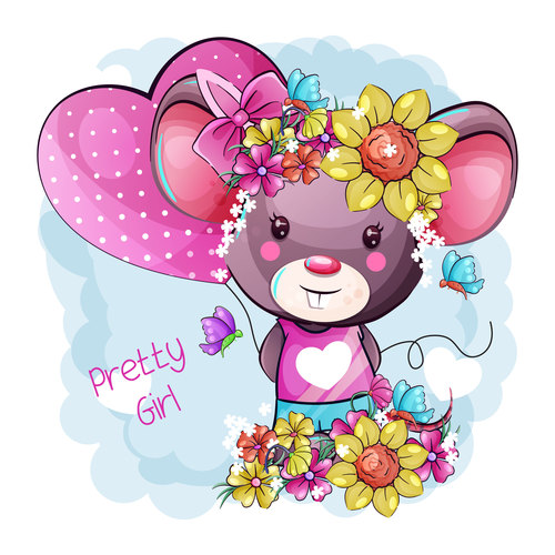 Rat vector with a wreath