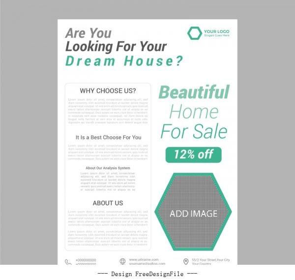 Real estate business flyer vector